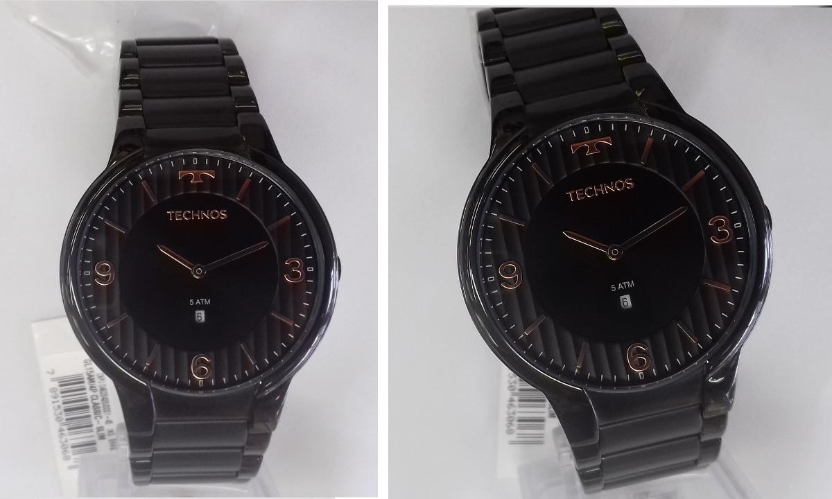 2e5be26eaaff7 Relógio Technos Slim Gl15am 4p Gl15am 4p Preta Classic - R  539