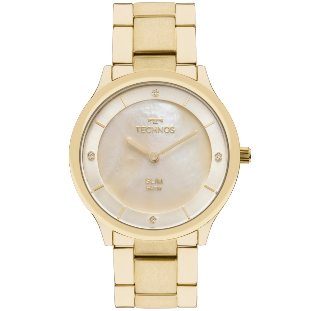 5d578e7f5e466 Relógio Technos Slim Gl20hf 4x Gl20hf 4x Slim Dourado - R  479
