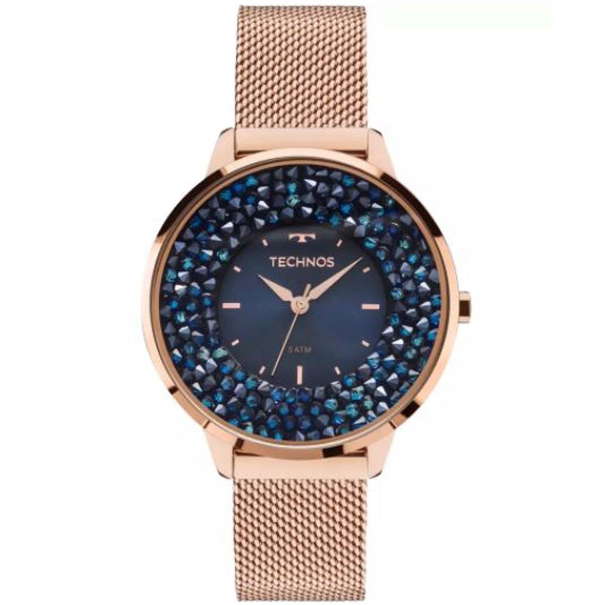 relógio technos swarovski elegance analógico feminino 2035ml. Carregando  zoom. 0b0ffa40a6