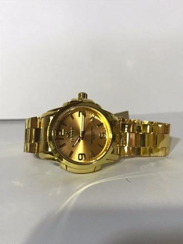 relógio tecnet  dourado 62828ch resistente a água masculino