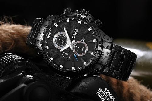 relógio temeite t033g masculino importado todo preto lindo