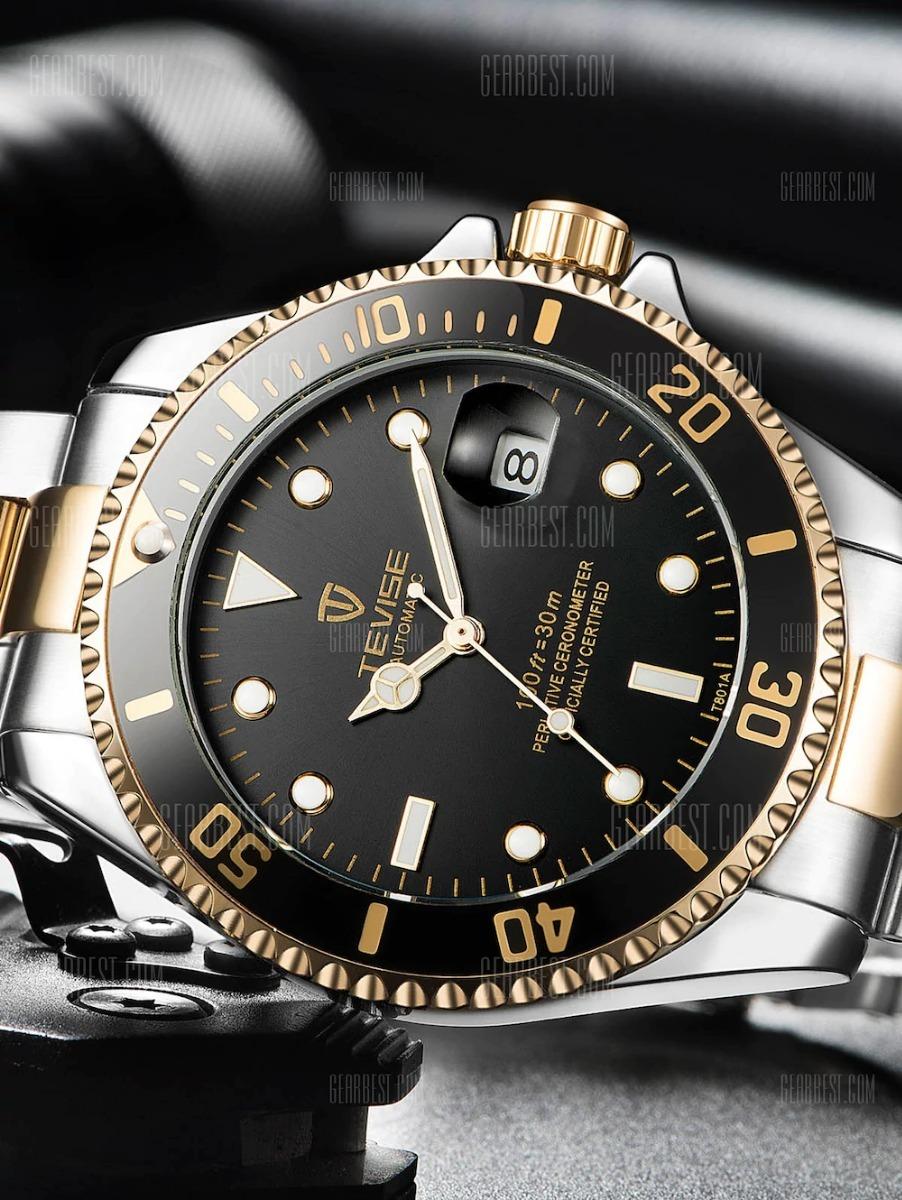 9caf719aeb2 relogio tevise t801 automático luxo esporte submariner. Carregando zoom.