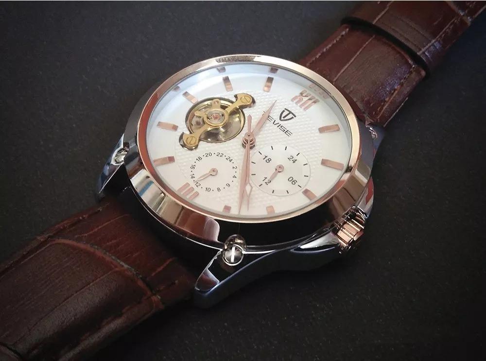 68431336063 relógio tevise turbilhão automático pulseira em couro. Carregando zoom.