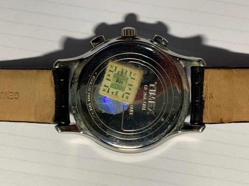 relógio timex chronograph indiglo wr 50 m pulseira couro