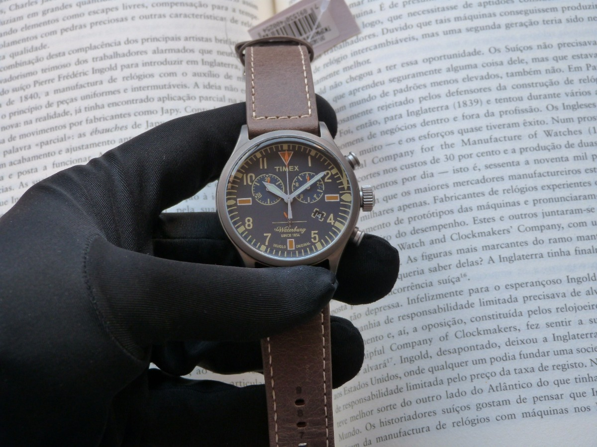 7161ea654dc Relógio Timex Waterbury Tw2p84100ww n Originals Couro - R  529