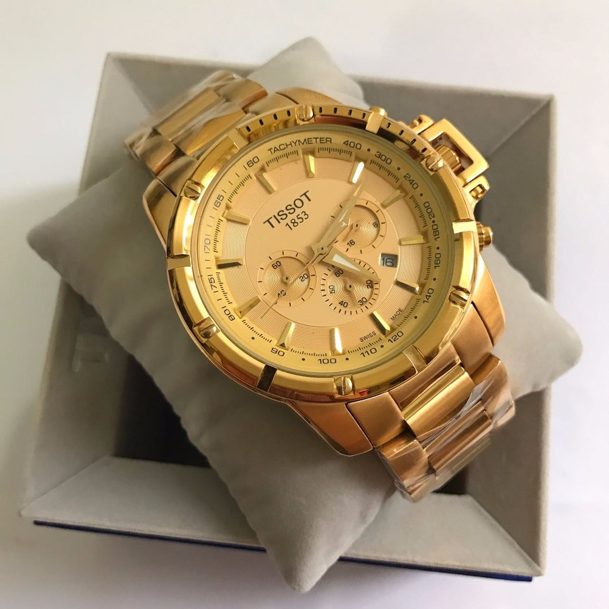 4716fcefa06 Relógio Tissot 1853 Quartz Dourado Mostrador Dourado Aço - R  600