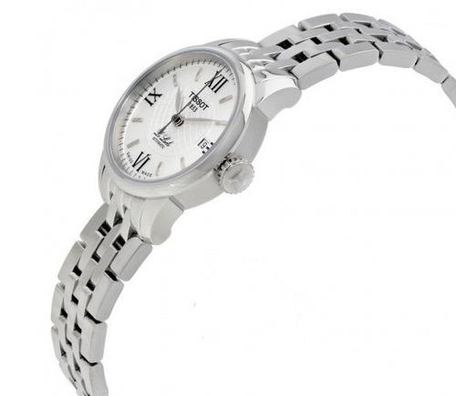 relógio tissot automático feminino lelocle prata/aço inox