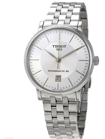 relógio tissot carson automático powermatic prata/cinza/aço