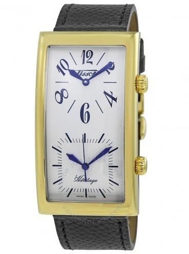 relógio tissot classic retangulo dual time preto/dourado/cou