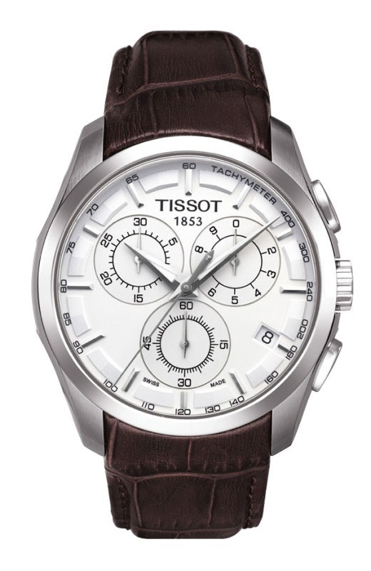 c21288e6b62 Relógio Tissot Couturier Branco Pulseira De Couro 12 X S jur - R  1.359