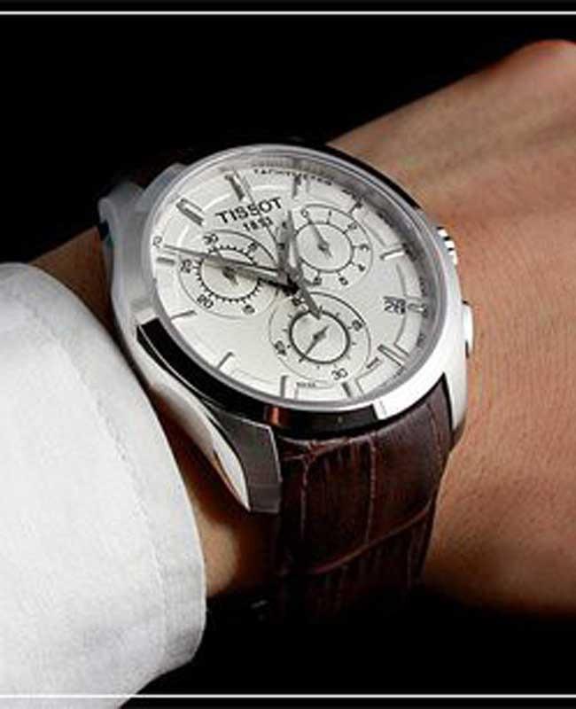 a43c196b211 relógio tissot couturier t035.617.16.031.00 branco couro. Carregando zoom.