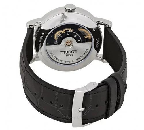 relógio tissot everytime swissmatic automático preto/couro