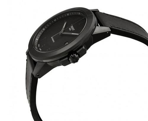 relógio tissot gentleman swissmatic automático couro/preto