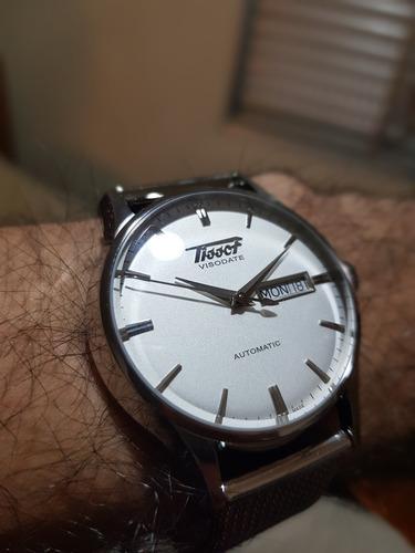 relógio tissot heritage visodate prata/aço/mesh automático