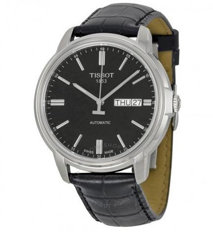 relógio tissot masculino automático iii preto/couro original