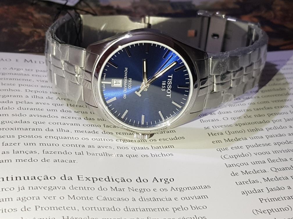 0a238febfc3 relógio tissot masculino pr100 automático powermatic80 azul. Carregando  zoom.