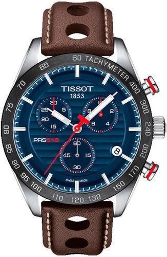 relógio tissot novo prs 516 t1004171604100 azul e marrom