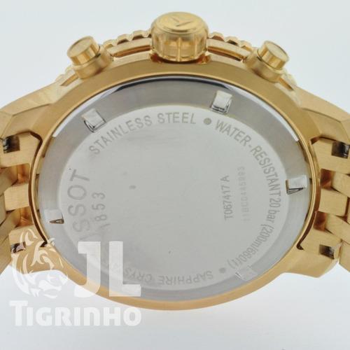 relógio tissot prs200 dourado t067.417.33.041.00 prs 200