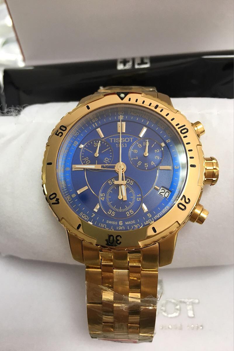 5f11ca44009 relógio tissot prs200 original dourado fundo azul+caixa. Carregando zoom.