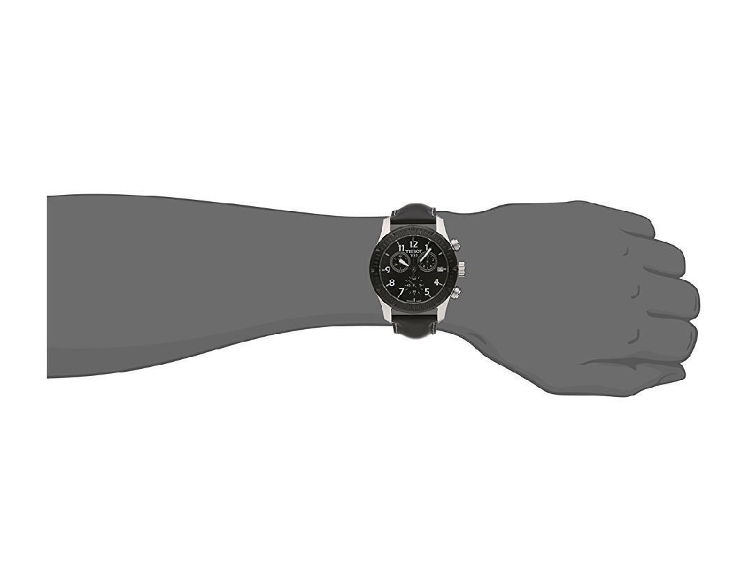 0bf700547c8 relógio tissot v8 chronograph black dial black leather men s. Carregando  zoom.