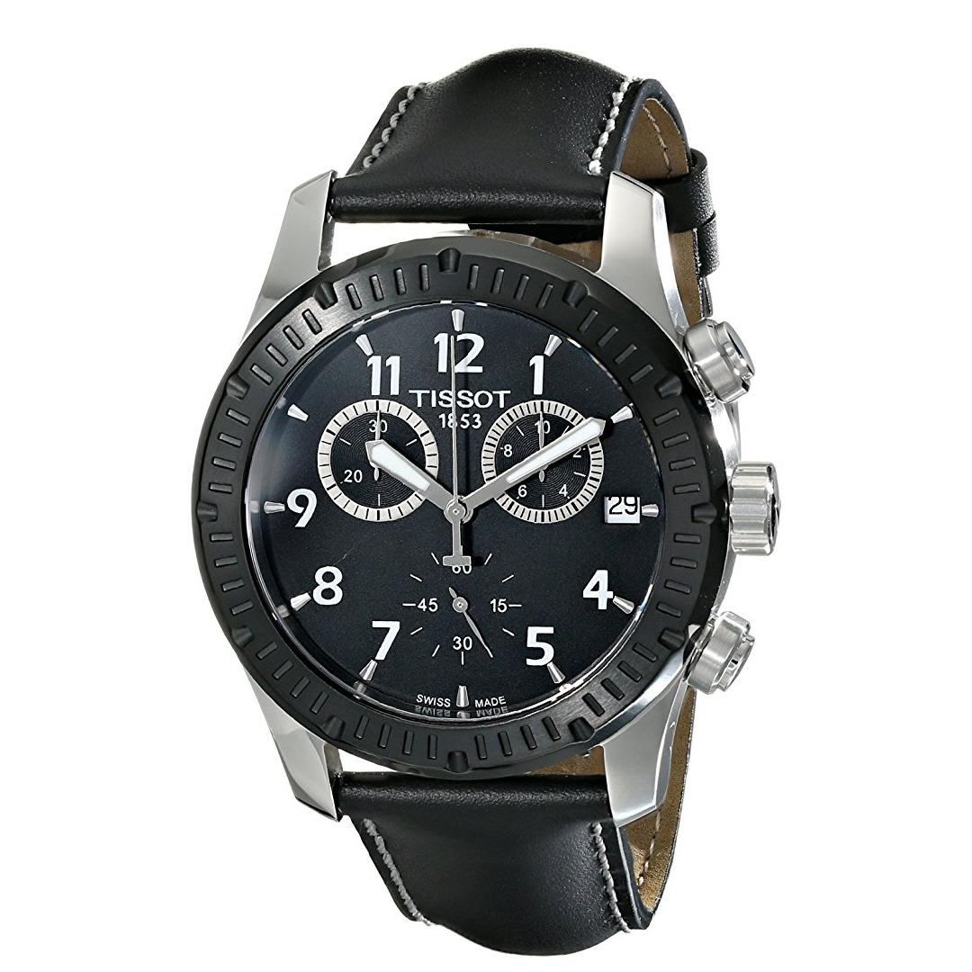 06e29b3f6e1 relógio tissot v8 chronograph black dial black leather men s. Carregando  zoom.