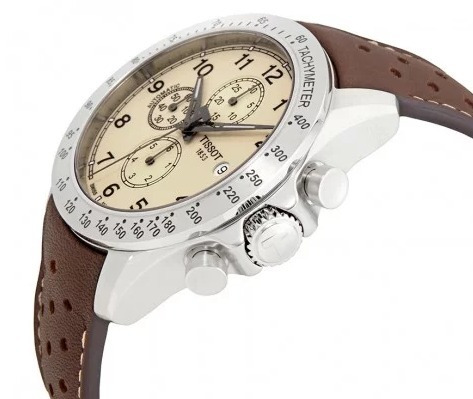 relógio tissot v8 cronógrafo automático prata/bege/marrom