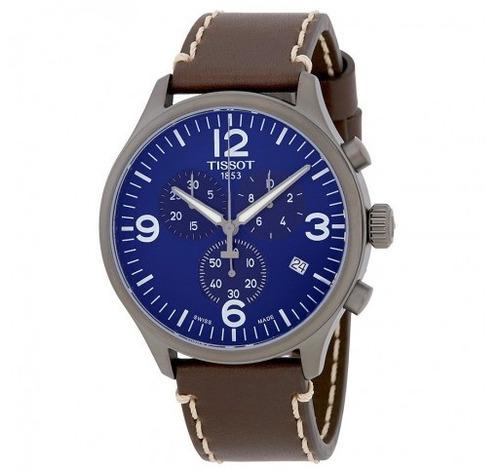relógio tissot xl cronógrafo azul/marrom/couro suíço mascul