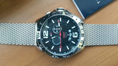 relógio tommy hilfiger gmt pulseira em aco novo na caixa