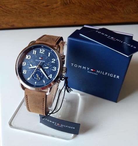 relógio tommy hilfiger masculino couro marrom - 1791424