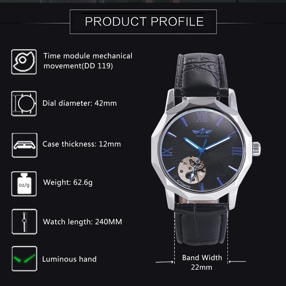 b01a7cf8602 relógio top automático mecânico de luxo esqueleto. Carregando zoom.