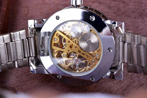 relogio top eskelectt mecanico aço inox winner