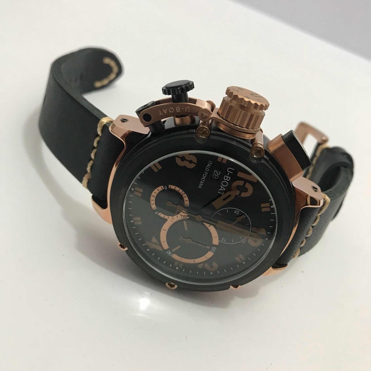 635a8907f43 relógio u-boat italo fontana preto detalhe rose. Carregando zoom.