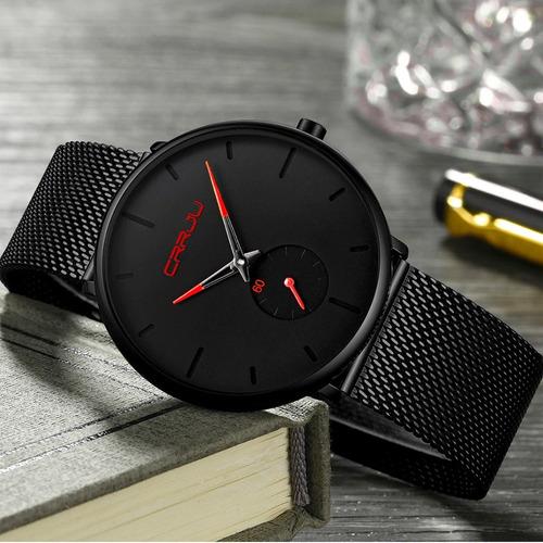 relógio ultra fino de luxo unisex masculino / feminino preto