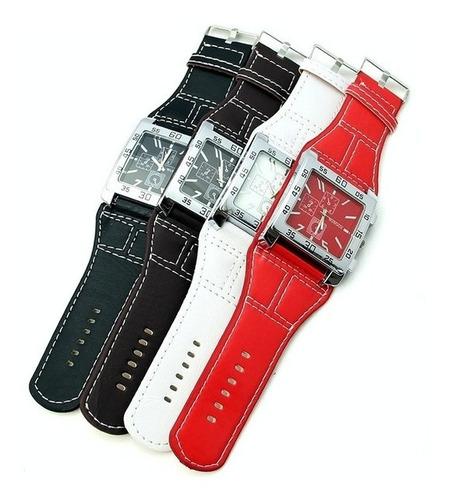 relógio unisex analógico ponteiro pulseira couro sintético