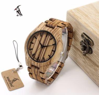 relógio unissex bambu madeira analógico bobo bird wg22