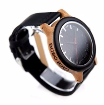 relógio unissex bambu madeira black wm13 bobo bird + case