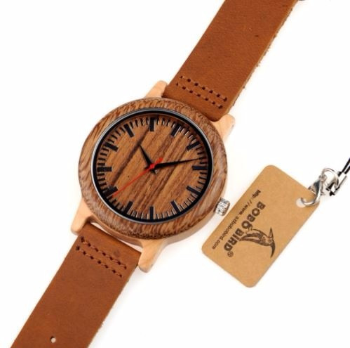 relógio unissex bambu madeira m14 analóg  bobo bird