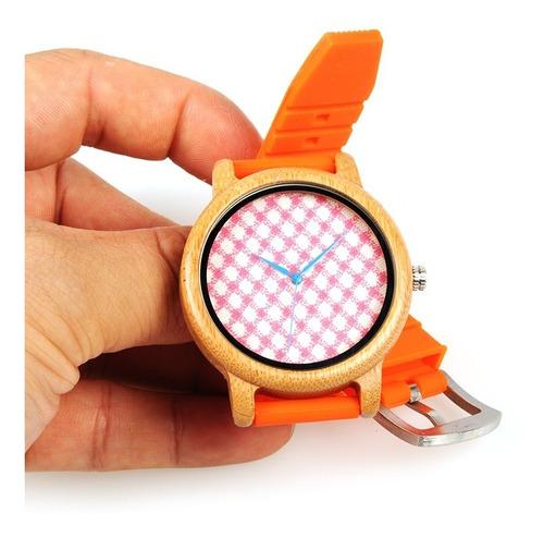 relógio unissex bobo bird madeira natural original laranja/xadrez b03