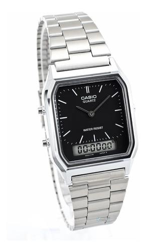 relogio unissex casio prata aq-230a fundo preto original