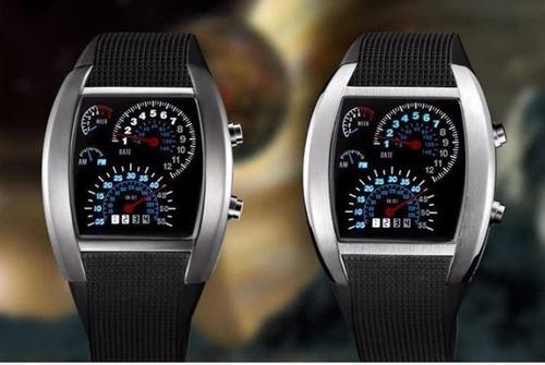 relogio unissex led azul pulso data pulseira silicone preto