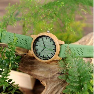 relógio unissex madeira analóg bobo bird + 1 pulseira b063