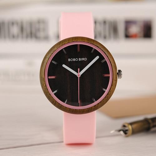 relógio unissex madeira bobo bird r283 analógico - rosa  top