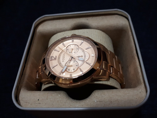 relógio unissex original fossil dourado cobreado
