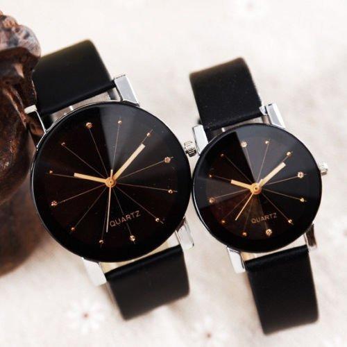 relógio unissex pulseira de couro quartzo luxo