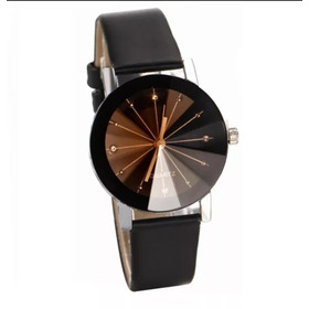 Relógio Unissex Pulso Moda Geneva Strass Couro