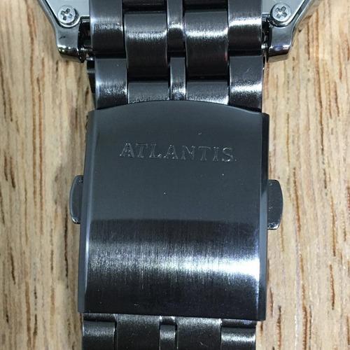 relogio unissex quadrado digital atlantis quadrado aço