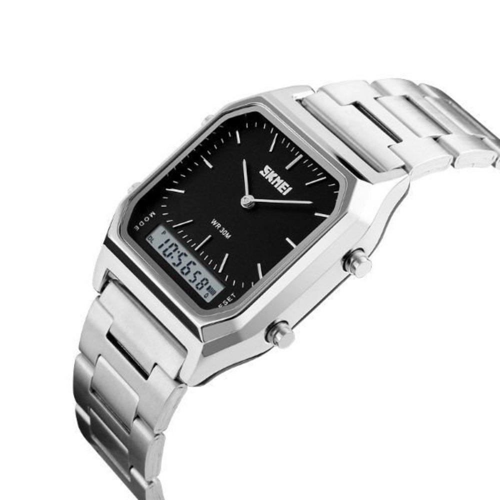 e79ad94f91c Relógio Unissex Skmei 1220 Anadigi Prata E Preto Com Nf - R  104