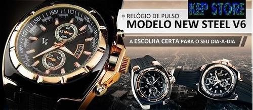 relógio v6 analógio dourado speed quartz masculino original