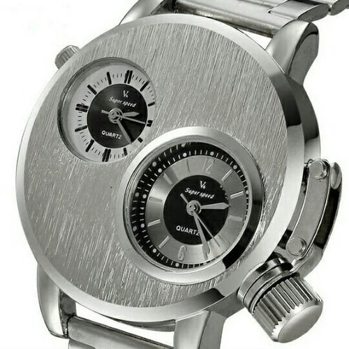 relógio v6 dual time zone futurista