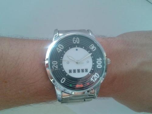 relógio velocímetro fusca 120 - pulseira cromada